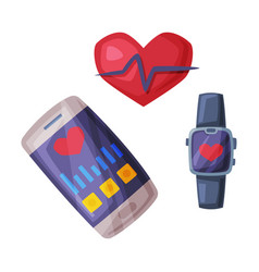 smartphone and smartwatch with fitness vector image