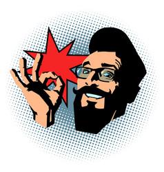 smiling hipster ok gesture vector image