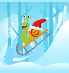 snail with christmas hat vector image