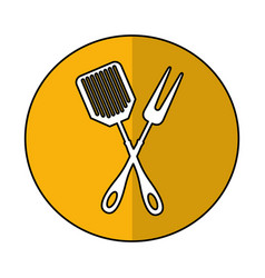 Spatula and fork kitchen cutlery isolated icon vector