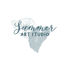 summer art studio school logotype layout vector image