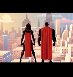superhero couple watch day vector image