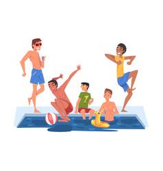 Swimming pool party happy guys having fun vector