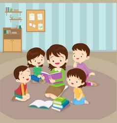 Teacher reading for kids vector
