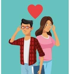 teens couple in love heart vector image
