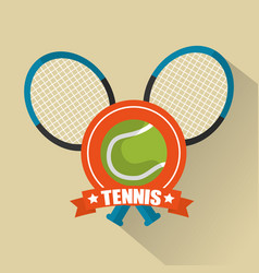 tennis rackets cross and ball sport emblem vector image