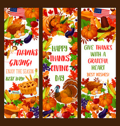 thanksgiving banner set for autumn holiday design vector image