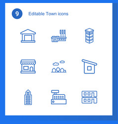 town icons vector image