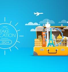 Travel bag vacation design template take v vector