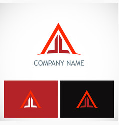 triangle line building company logo vector image