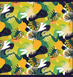 tropical fruits seamless juicy pattern green vector image