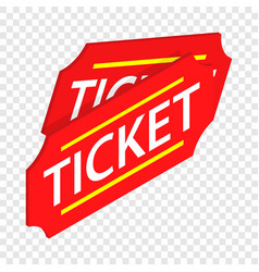 Two red tickets isometric icon vector