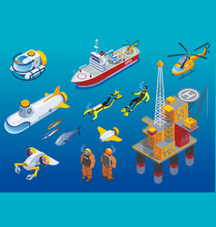 Underwater depths research isometric icons vector
