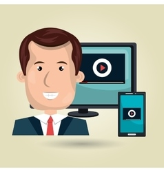 User online TV isolated icon design vector image