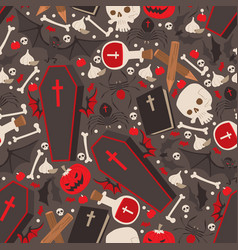 vampire icons in seamless pattern vector image