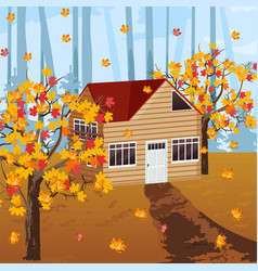 Wood house autumn background vector