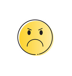 Yellow cartoon face angry people emotion icon vector