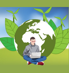 Young man working on green earth background vector