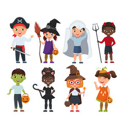 cute halloween kids set cartoon vector image