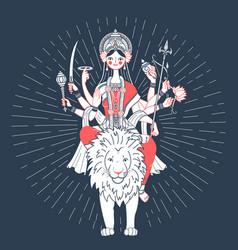 Icon of goddess durga a lion vector