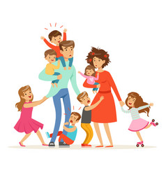 large family with many children kids babies and vector image vector image