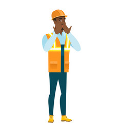 Shoked african-american builder covering his mouth vector