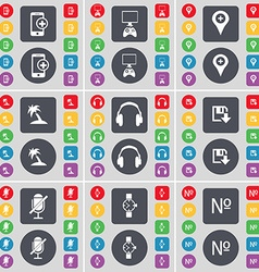 Smartphone game console checkpoint palm headphones vector
