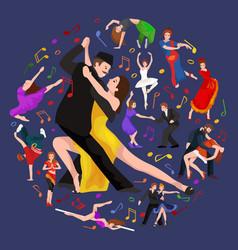 yong couple man and woman dancing tango with vector image vector image