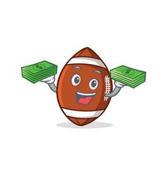 American football character cartoon with money vector