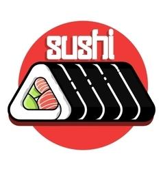Color vintage sushi emblem vector image