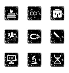 Scientific research icons set grunge style vector
