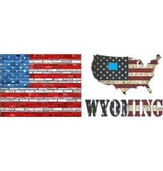 USA state of Wyoming on a brick wall vector image vector image
