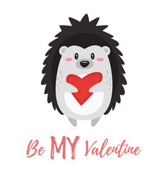 valentines day card with hedgehog vector image