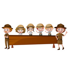 Wooden board with park rangers vector