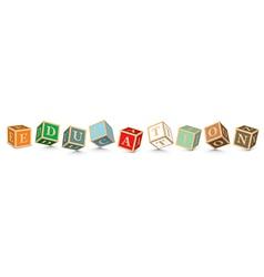 Word education written with alphabet blocks vector