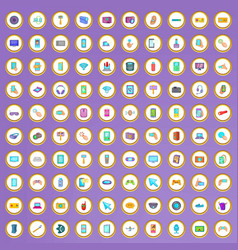 100 device icons set in cartoon style vector image