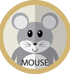 Cute grey mouse cartoon flat icon avatar round vector image vector image