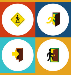 flat icon exit set of entry evacuation open door vector image vector image