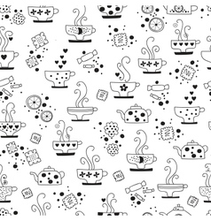 seamless pattern drinking of tea monochrome vector image vector image