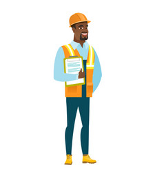 builder holding clipboard with papers vector image vector image
