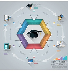 Education And Graduation Infographic With Hexagon vector image