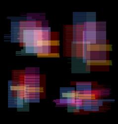 glitch elements set digital pixel noise color vector image