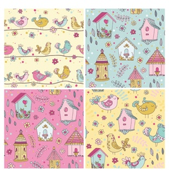 Set of Seamless Patterns - Cute Birds Backgrounds vector image vector image
