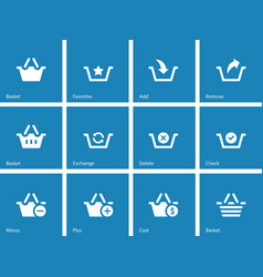 Shopping Basket icons on blue background vector image vector image