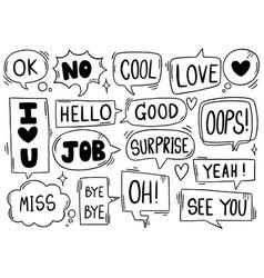 0027 hand drawn background set cute speech vector