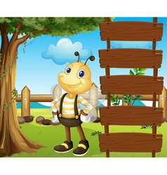 A honeybee beside a blank template vector image