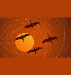 abstract cartoon flock of cranes vector image