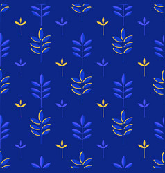 abstract seamless pattern of minimalistic leaves vector image