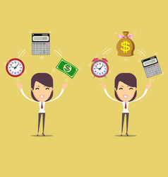 Accountant at worktime is money concept vector