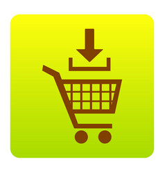add to shopping cart sign brown icon at vector image